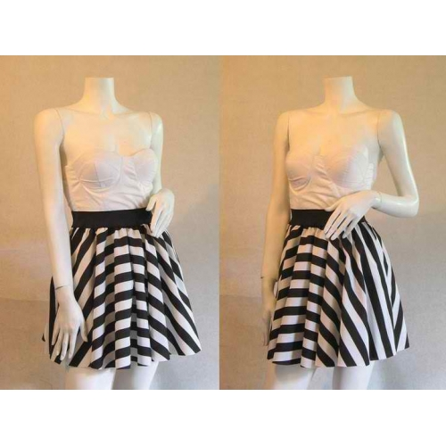 Bold Striped Balloon Skirt